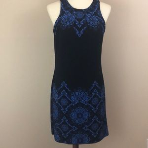 WHBM Black Shift Dress with Blue Pattern, Size S